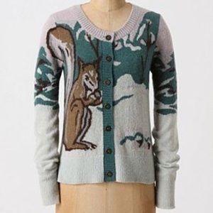 Anthro HWR Squirrel Cardigan Rare